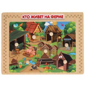 """Игрушка деревянная рамка-вкладыш """"кто живет на ферме"""" Буратино в кор.100шт"""