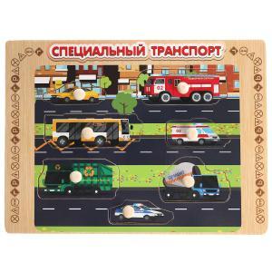 """Игрушка деревянная рамка-вкладыш """"спецтранспорт"""" Буратино в кор.100шт"""