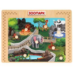 """Игрушка деревянная рамка-вкладыш """"зоопарк"""" Буратино в кор.100шт"""