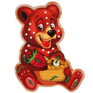 """Игрушка деревянная шнуровка """"медведь"""" Буратино в кор.300шт"""