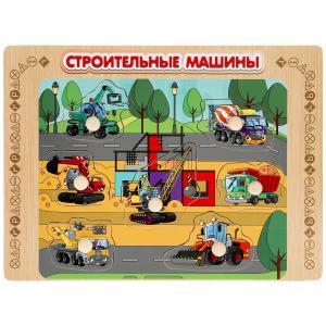 """Игрушка деревянная рамка-вкладыш """"строительные машины"""" Буратино в кор.100шт"""