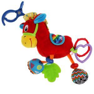 Текстильная игрушка погремушка лошадка подвеска с вибрацией на блистере Умка в кор.125шт