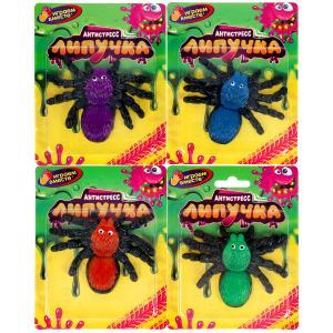 Игрушка лизун-липучка паук, цвет в ассорт. на блистере ИГРАЕМ ВМЕСТЕ в кор.4*72шт
