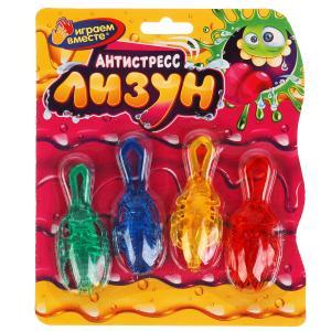 Игрушка лизун жуки 4 шт, цвет в ассорт. на блистере ИГРАЕМ ВМЕСТЕ в кор.4*36шт