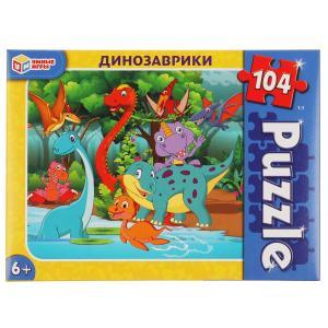 Динозаврики. Пазлы классические в коробке. Пазл 104 детали. Умные игры в кор.24шт