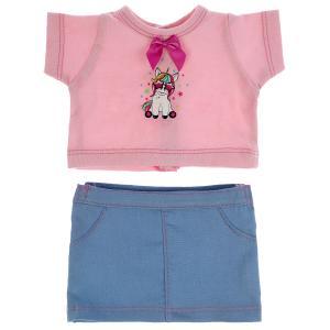 Одежда для кукол 40-42 см юбка и футболка единорог КАРАПУЗ в шт.100шт