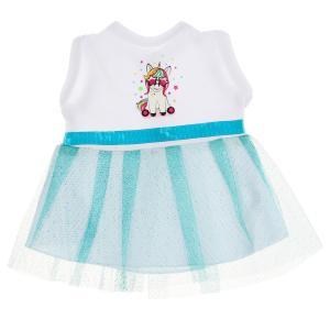 Одежда для кукол 40-42см платье единорог бирюза КАРАПУЗ в шт.100шт
