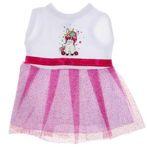 Одежда для кукол 40-42см платье единорог фуксия КАРАПУЗ в шт.100шт