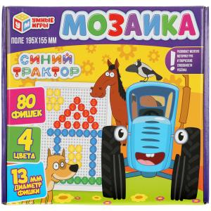 Синий трактор. Мозаика пластиковая. 80 фишек. 4 цвета. Поле 195х155мм. в кор Умные игры в кор.18шт