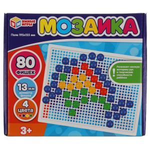 Мозаика пластиковая. 80 фишек. 4 цвета. Поле 195х155мм. В картонной коробке Умные игры в кор.18шт