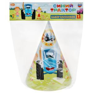 Праздничные колпачки Синий ТРАКТОР 6 шт, пакет+хедер Товары для праздника в кор.96наб