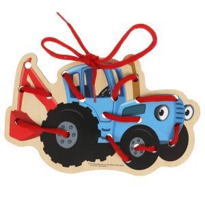 Игрушка деревянная Синий ТРАКТОР шнуровка 17*13 см Буратино в кор.50шт
