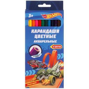 Цветные карандаши ХОТ ВИЛС 12цв, акварельные Умка в кор.20*12шт