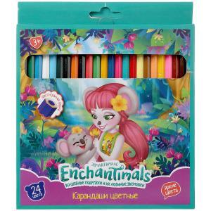 Цветные карандаши ЭНЧЕНТИМАЛС 24цв, шестигран, карт.кор Умка в кор.20*6шт