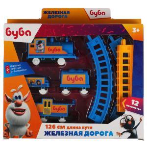 Железная дорога мультяшная БУБА длина пути 126, кор.25*20,5*4см ИГРАЕМ ВМЕСТЕ в кор.2*54шт