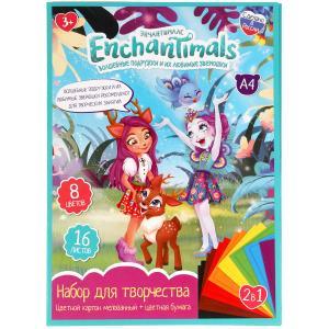 Набор: цветная бумага и цветной картон ЭНЧЕНТИМАЛС (8+8), enchantimals Умка в кор.30шт