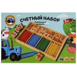 Игрушка деревянная Синий ТРАКТОР счетный набор Буратино в кор.120шт