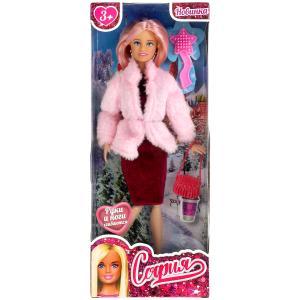 Кукла 29 см София сингл, в розовой шубе, сумочка, расческа в комплекте КАРАПУЗ в кор.24шт