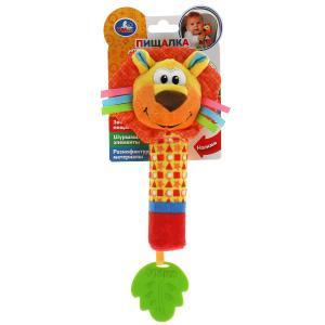 Текстильная игрушка погремушка лев пищалка функционал Умка в кор.250шт