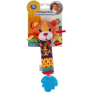 Текстильная игрушка погремушка пищалка леопард с прорез. Умка в кор.250шт