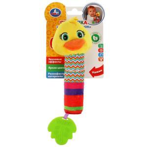 Текстильная игрушка погремушка пищалка утка с прорез. Умка в кор.250шт