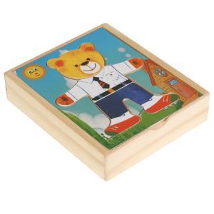 Игрушка деревянная вкладыш одень мишку Буратино в кор.300шт