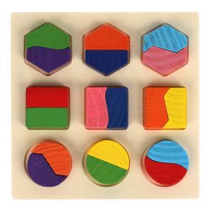 Игрушка деревянная вкладиш геометрика 15*15 см Буратино в кор.300шт