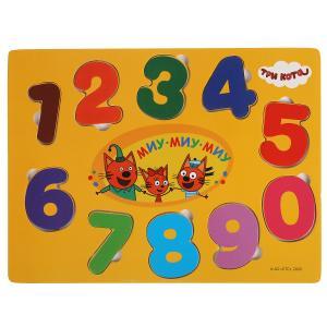 Игрушка деревянная Три Кота вкладыш цифры Буратино в кор.200шт