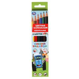 Цветные карандаши Синий ТРАКТОР 6цв, акварельные Умка в кор.20*24шт
