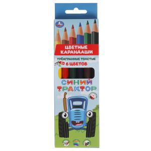 Цветные карандаши Синий ТРАКТОР 6цв, трёхгран толстые Умка в кор.12*24шт