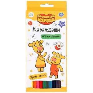 Цветные карандаши Оранжевая корова 12цв, акварельные Умка в кор.20*12шт