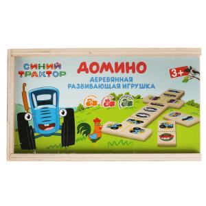 Игрушка деревянная Синий ТРАКТОР домино Буратино в кор.120шт